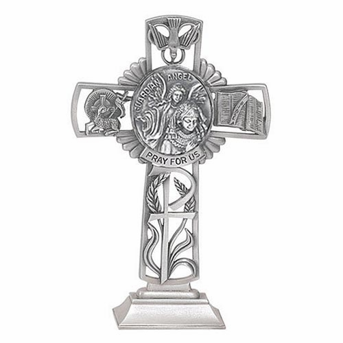Jeweled Cross Guardian Angel Girl Bethany Collection Pewter Standing Cross