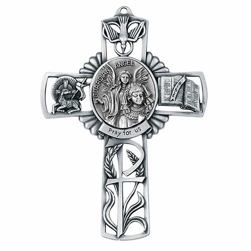 Jeweled Cross Guardian Angel Girl Bethany Collection Pewter Wall Cross