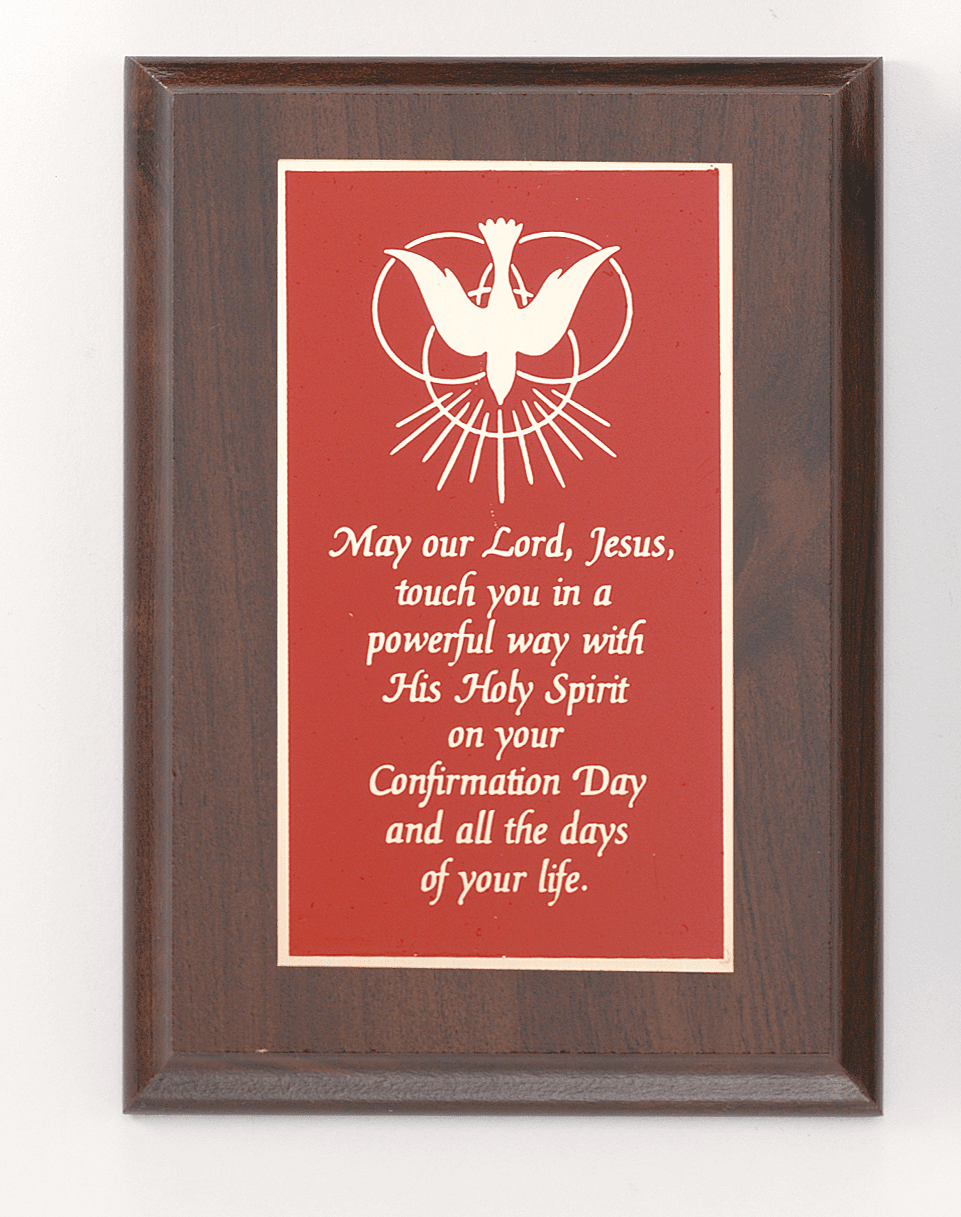 Jeweled Cross Holy Spirit Confirmation Wall Plaque