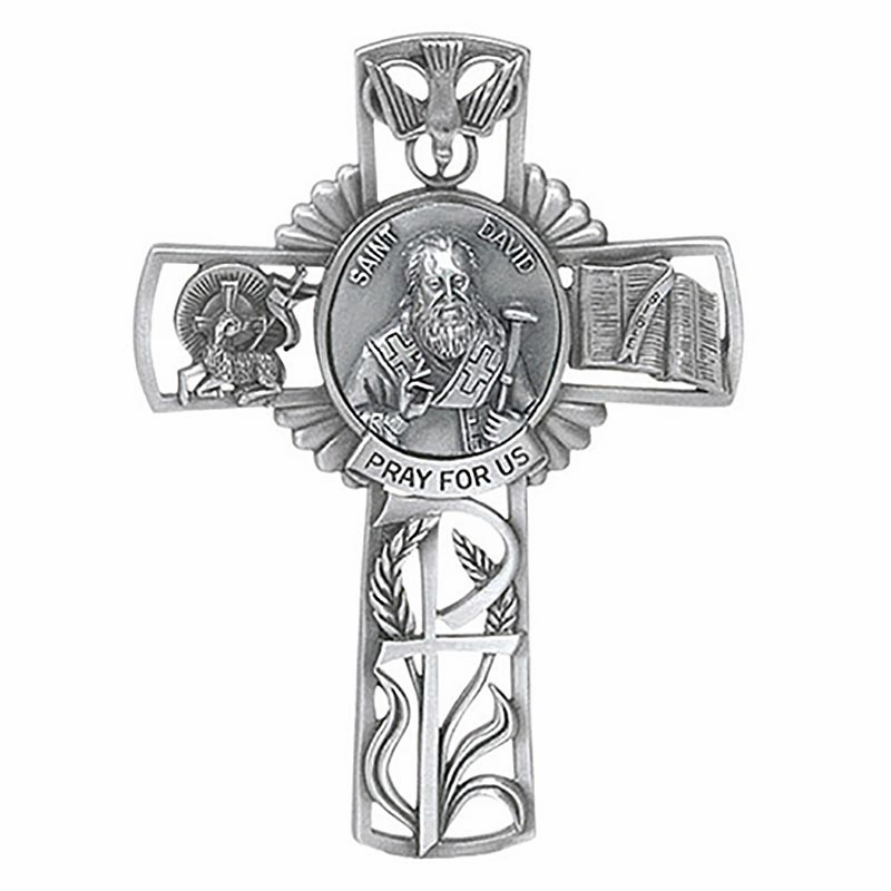 Jeweled Cross Mother Cabrini Wall Bethany Collection Pewter Wall Cross