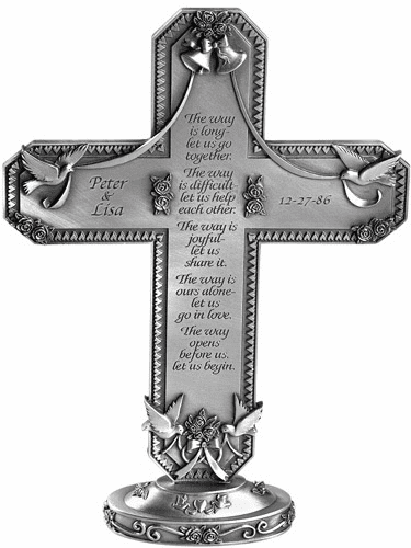 Jeweled Cross Pewter Standing Wedding Cross