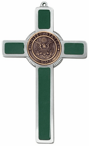 Jeweled Cross Religious US Army Corp Military Green Epoxy Cross