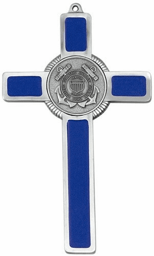 Jeweled Cross Religious US Coast Guard Military Blue Epoxy Cross