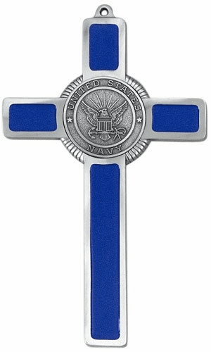 Jeweled Cross Religious US Navy Corp Military Blue Epoxy Cross