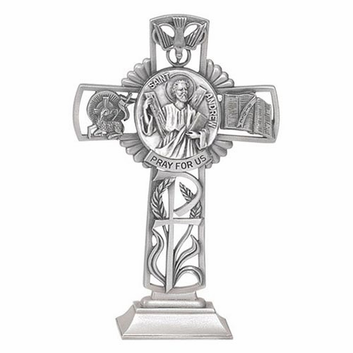 Jeweled Cross St Andrew Bethany Pewter Collection Standing Cross