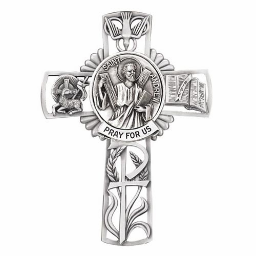 Jeweled Cross St Andrew Bethany Pewter Collection Wall Cross