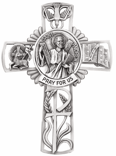 Jeweled  Cross St Andrew Pewter Wall Cross