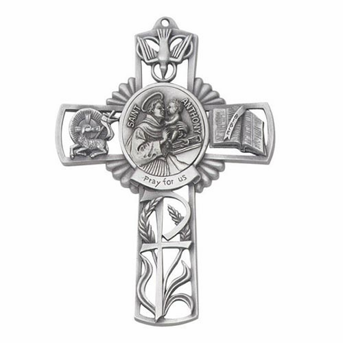 Jeweled Cross St Anthony Bethany Collection Pewter Wall Cross