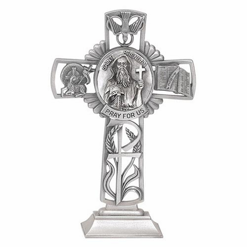 Jeweled Cross St Brendon Bethany Collection Pewter Standing Cross