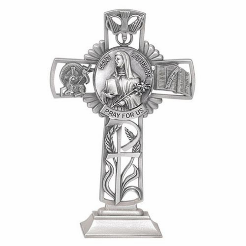 Jeweled Cross St Catherine Bethany Collection Pewter Standing Cross