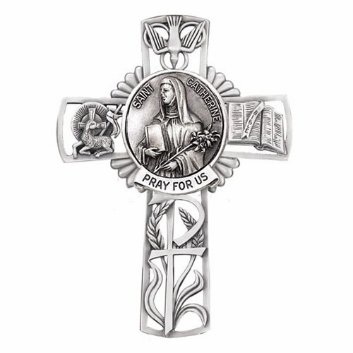 Jeweled Cross St Catherine Bethany Collection Pewter Wall Cross