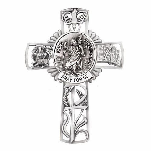 Jeweled Cross St Christopher Bethany Collection Pewter Wall Cross