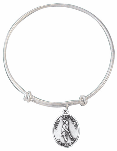 Jeweled Cross St Christopher Field Hockey Charm Silver Bangle Bracelet