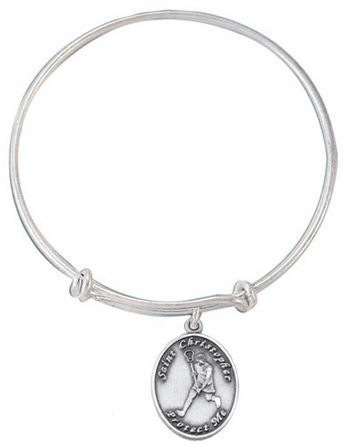 Jeweled Cross St Christopher Girl's Lacrosse Charm Silver Bangle Bracelet
