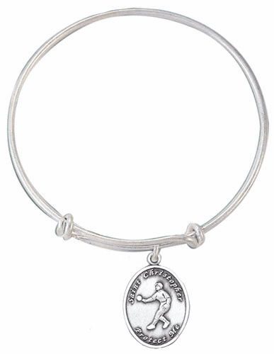 Jeweled Cross St Christopher Girl's Softball Charm Silver Bangle Bracelet