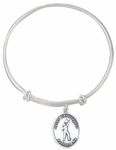 Jeweled Cross St Christopher Girl's Volleyballl Charm Silver Bangle Bracelet