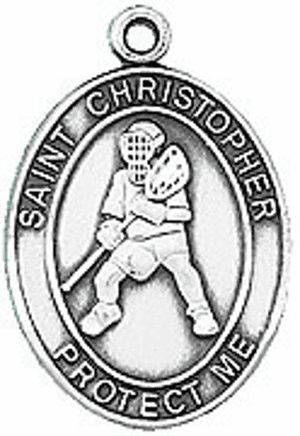 Jeweled Cross St. Christopher Lacrosse Saint Medal