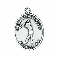 Jeweled Cross St Christopher Ladies Golf Necklace