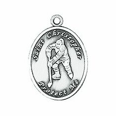 Jeweled Cross St. Christopher Ladies Hockey Medal Necklace