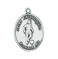 Jeweled Cross St Christopher Ladies Soccer Necklace