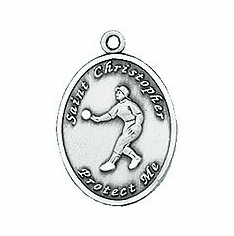 Jeweled Cross St. Christopher Ladies Softball Necklace