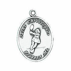 Jeweled Cross St. Christopher Ladies Tennis Necklace