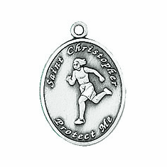 Jeweled Cross St. Christopher Ladies Track Necklace