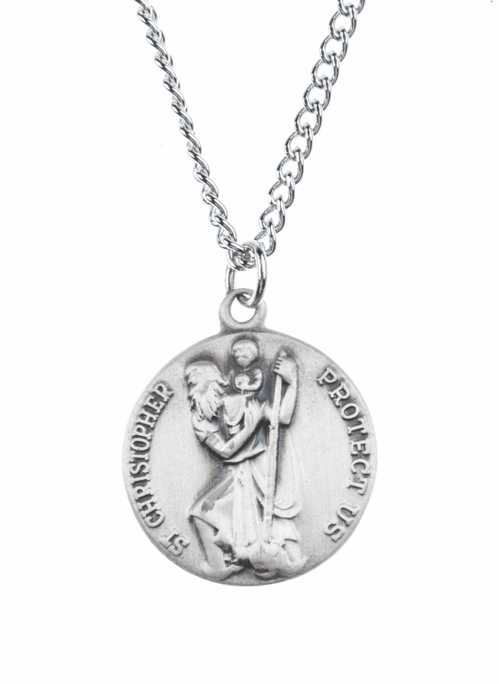 Jeweled Cross St Christopher Sterling Silver Saint Medal Necklace