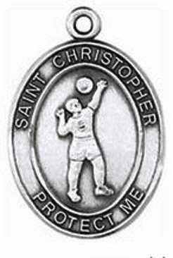 Jeweled Cross St. Christopher Volleyball Saint Medal