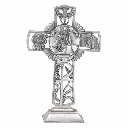 Jeweled Cross St Daniel Bethany Collection Pewter Standing Cross