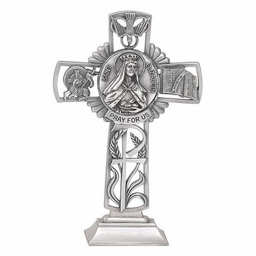 Jeweled Cross St Elizabeth Bethany Collection Pewter Standing Cross
