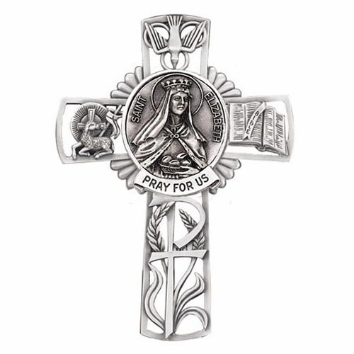 Jeweled Cross St Elizabeth Bethany Collection Pewter Wall Cross