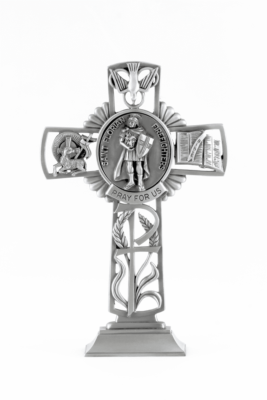 Jeweled Cross St Florian (Firefighters) Bethany Collection Pewter Standing Cross