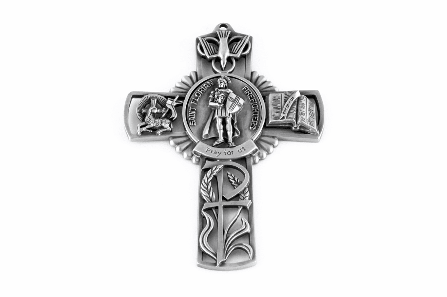 Jeweled Cross St Florian (Firefighters) Bethany Collection Pewter Wall Cross