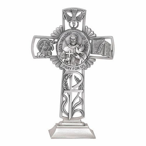 Jeweled Cross St Francis of Assisi Bethany Collection Pewter Standing Cross