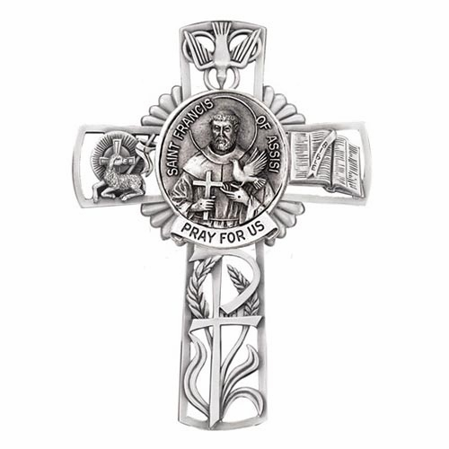 Jeweled Cross St Francis of Assisi Bethany Collection Pewter Wall Cross