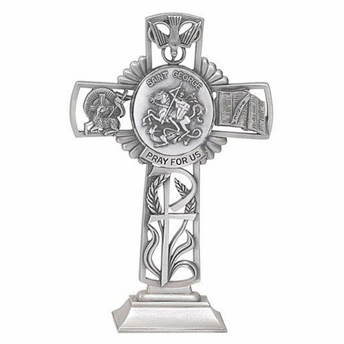 Jeweled Cross St Gabriel Bethany Collection Pewter Standing Cross