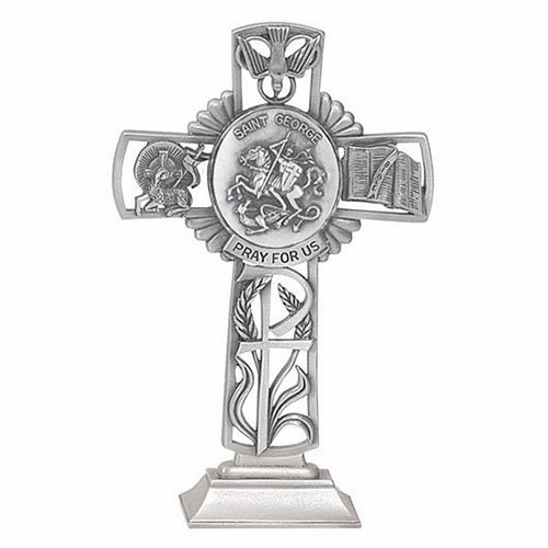 Jeweled Cross St George Bethany Collection Pewter Standing Cross