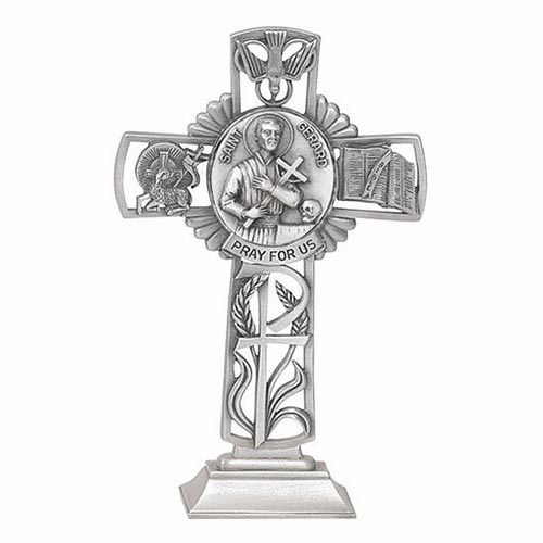 Jeweled Cross St Gerard Bethany Collection Pewter Standing Cross