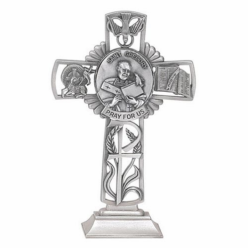Jeweled Cross St Gregory Bethany Collection Pewter Standing Cross