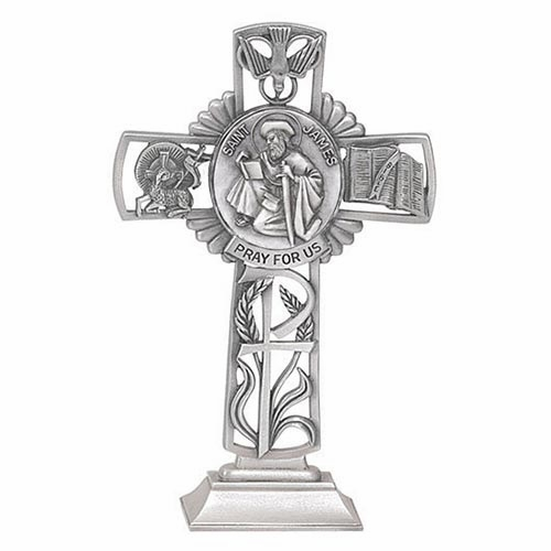 Jeweled Cross St James Bethany Collection Pewter Standing Cross