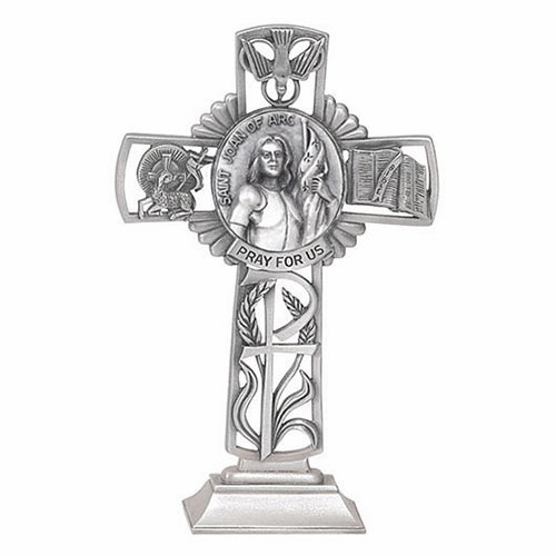 Jeweled Cross St Joan of Arc Bethany Collection Pewter Standing Cross