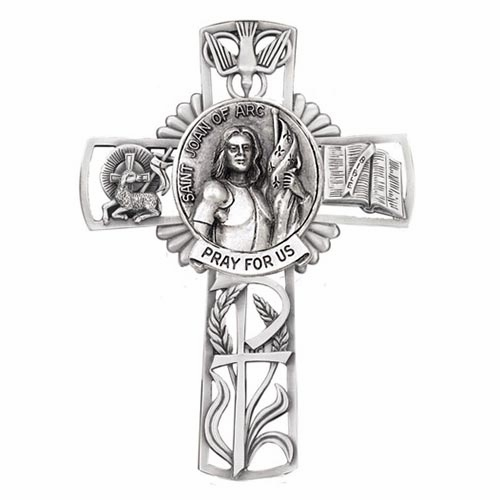 Jeweled Cross St Joan of Arc Bethany Collection Pewter Wall Cross