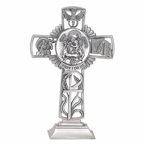 Jeweled Cross St Joseph and Child Bethany Collection Standing Cross