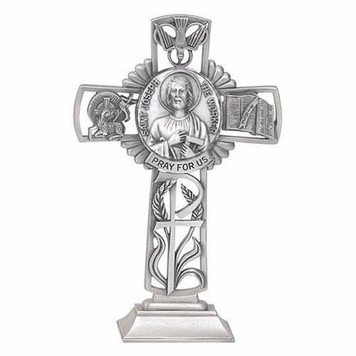 Jeweled Cross St Joseph the Worker Bethany Collection Pewter Standing Cross