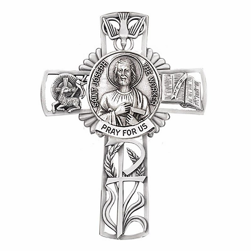 Jeweled Cross St Joseph the Worker Bethany Collection Pewter Wall Cross
