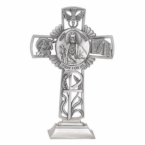 Jeweled Cross St Jude Bethany Collection Pewter Standing Cross