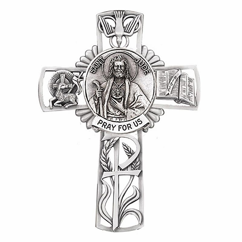 Jeweled Cross St Jude Bethany Collection Pewter Wall Cross