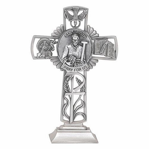Jeweled Cross St Justin Bethany Collection Pewter Standing Cross