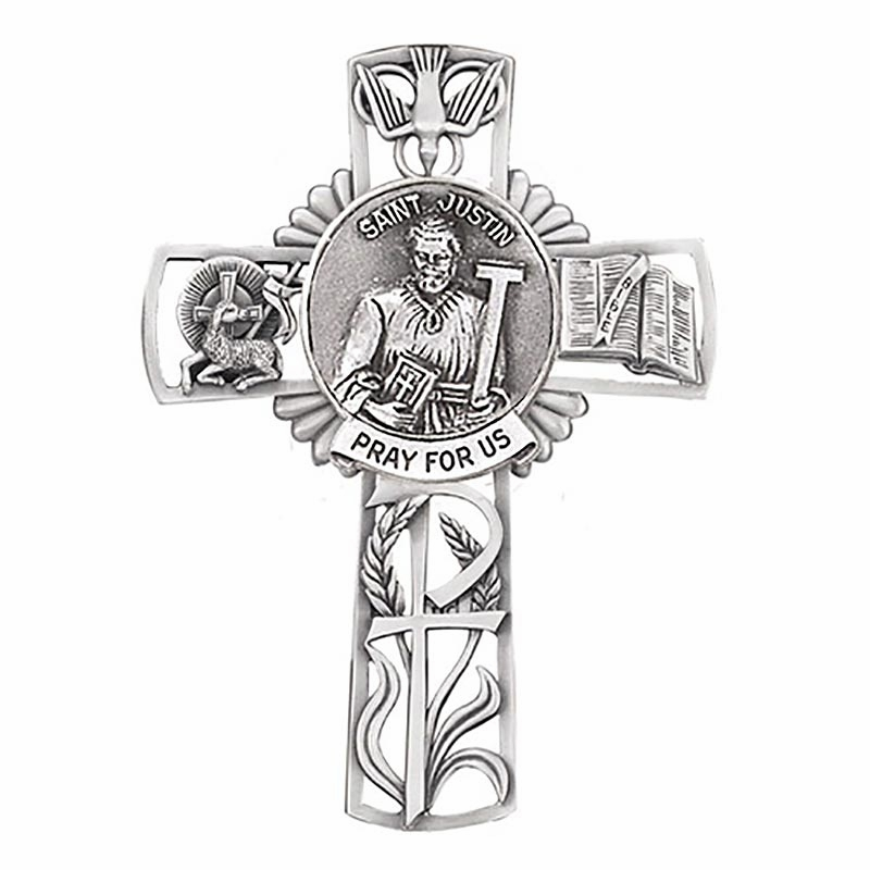 Jeweled Cross St Justin Bethany Collection Pewter Wall Cross